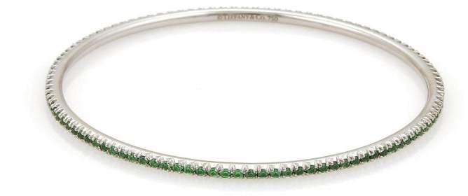 Tiffany & Co. 18K White Gold & Tsavorite Bracelet Bangle