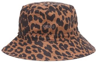 Ganni Leopard-print cotton bucket hat