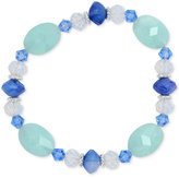 Nine West Silver-Tone Blue Bead Stretch Bracelet