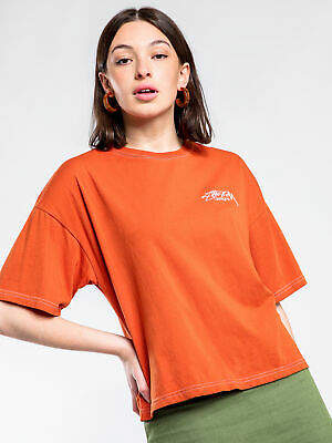 Stussy New Womens Melrose Oversized T Shirt In Rust Tops & T Shirts