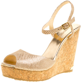 Jimmy Choo Metallic Beige Python Print Suede Perla Cork Wedge Ankle Strap Sandals Size 41