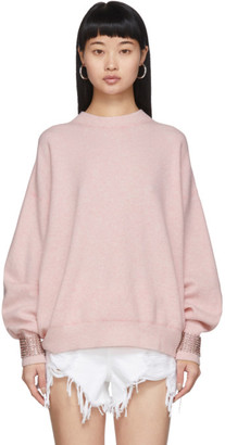 Alexander Wang Pink Wool Crystal Cuffs Sweater