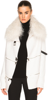 Barbara Bui Zip Cardigan with Mongolian Lamb Fur Collar