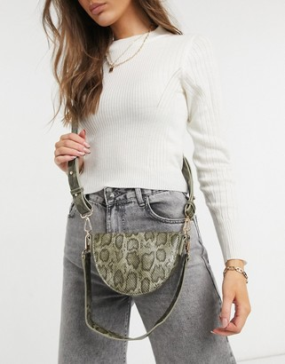 ASOS DESIGN cross-body saddle bag in green snake with detachable shoulder strap