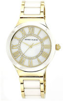 Anne Klein Round goldtone case and gold band with white ceramic center links and a white dial with crystals