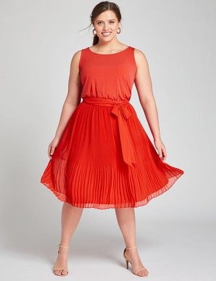 Lane Bryant Mixed Media Pleated Fit & Flare Dress