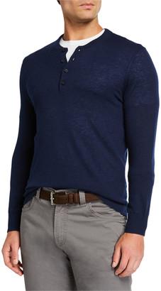 Neiman Marcus Men's Cashmere Long-Sleeve Henley Shirt