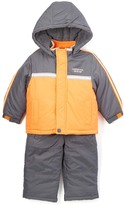 London Fog Orange Puffer Coat & Gray Snow Suit - Infant Toddler & Boys