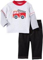 Bon Bebe 2 Piece Fireman Knit Denim Set (Baby)-Multicolor-0-3 Months