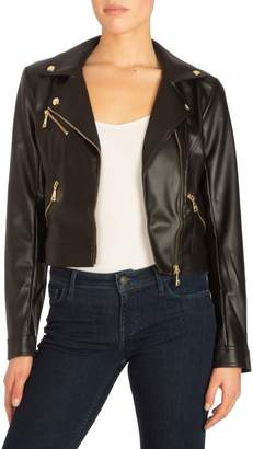 GUESS Faux-Leather Cropped Moto Jacket