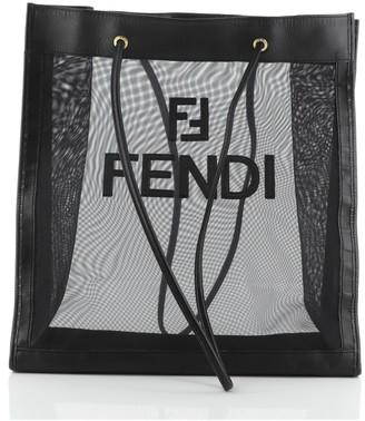 Fendi Vintage Logo Tote Mesh with Leather Large