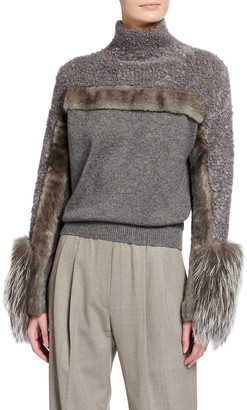 Agnona Cashmere Fox-Fur-Cuff Sweater