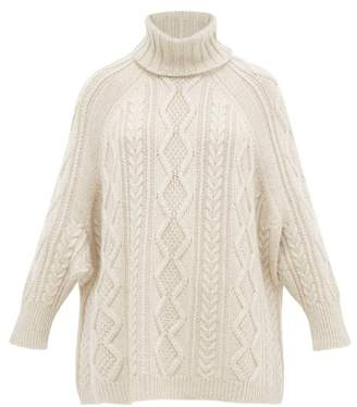 Queene and Belle Leigh Cable Knit Cashmere Roll Neck Sweater - Womens - Cream
