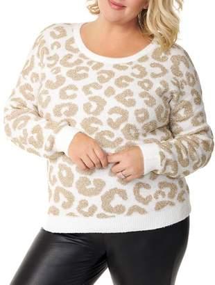 Belldini Plus Metallic Leopard-Jaquard Sweater