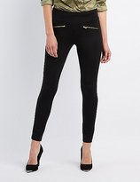 Charlotte Russe High-Rise Ponte Zipper-Trim Leggings