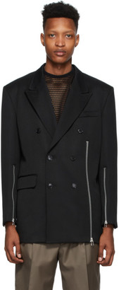John Lawrence Sullivan Johnlawrencesullivan Black Zip Double-Breasted Blazer