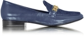 Tory Burch Gemini Link Royal Navy Leather and Haircalf Loafer