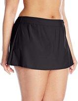 Athena Women's Plus-Size Cabana Solids Banded Skirted Bikini Bottom