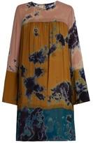 Raquel Allegra Patchwork tie-dye silk-chiffon dress