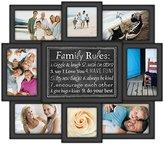 Malden International Designs Family Rules Dimensional Collage Black Picture Frame, 8 Option, 6-4x6 & 2-4x4, Black