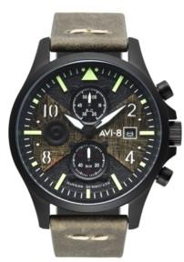 AVI-8 Men's Hawker Hurricane Chronograph Bulman Edition Green Genuine Leather Strap Watch 45mm