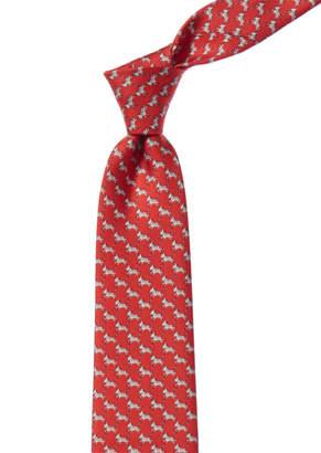 Salvatore Ferragamo Red Zebras Silk Tie