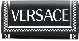 Versace Logo Checkered Trim Wallet