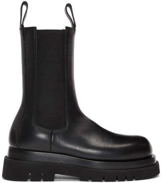 Bottega Veneta Black Mid-Calf Chelsea Boots