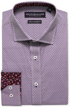 Nick Graham Men's Modern-Fit Printed Tile Dress Shirt