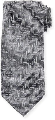 Tom Ford Textured Chevron Silk Tie, Gray