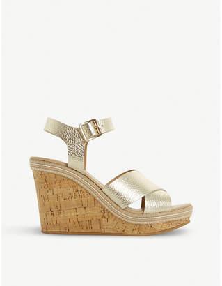 Dune Karllotta metallic leather cork wedge sandals