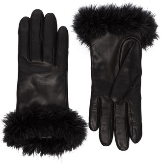 Agnelle Boa alpaca-trimmed leather gloves