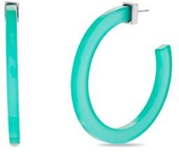 "Steve Madden Large Green Acrylic Open Back Hoop Earring 2.17"""