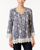 Style&Co. Style & Co. Printed Crochet-Trim Top, Only at Macy's