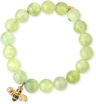 Sydney Evan Faceted Prehnite Beaded Bracelet with Diamond Bee Charm