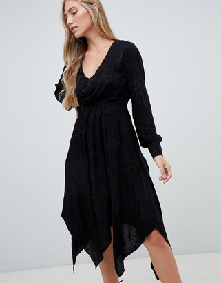 Forever New embroidered midi wrap dress in black