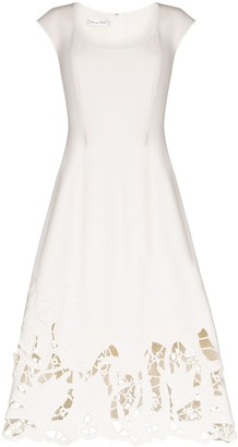 Oscar de la Renta Lace Hem Sleeveless Dress