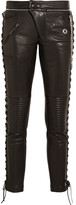 Cropped lace-up leather skinny pants