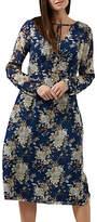 Sugarhill Boutique Noor Tie Neck Floral Midi Dress, Blue/Multi