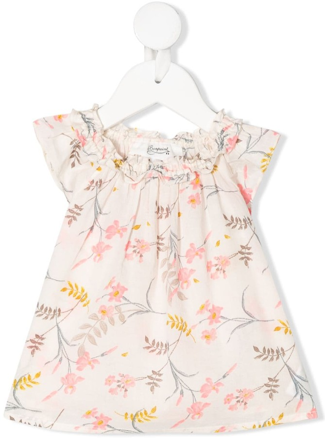 Bonpoint Floral Print Ruffle-Neck Top