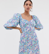 Reclaimed Vintage inspired button tea dress with puff sleeve in floral print