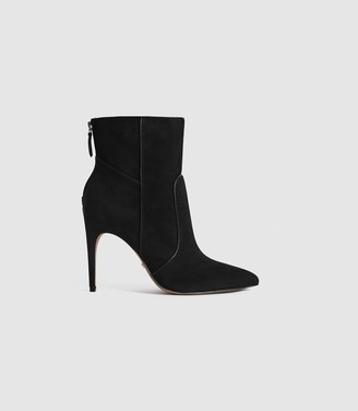 Reiss ENYA SUEDE POINT TOE HEELED ANKLE BOOTS Black
