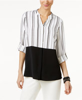 Alfani Tab-Sleeve Colorblocked Blouse, Only at Macy's