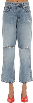RE/DONE High Rise Destroyed Cropped Denim Jeans
