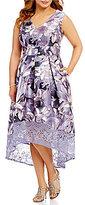 Sangria Plus Sleeveless Floral Midi Dress