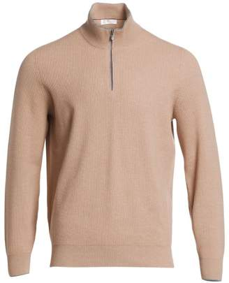Brunello Cucinelli Half Zip Rib-Knit Wool, Silk & Cashmere Sweater