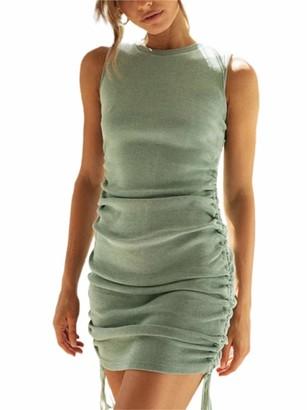 Miaouyo Womens Side Drawstring Short Dress Sleeveless Camisole Bodycon Stretchy Mini Tank Ruched Dress Party Club Street Wear (Yellow L)