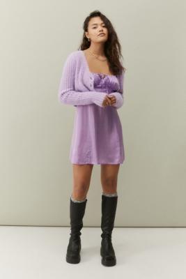 Urban Outfitters Kamaryn Satin Slip Mini Dress - Purple XS at