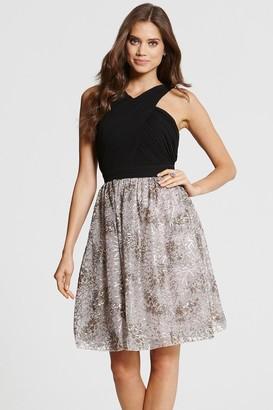 Little Mistress Crossover Black and Mink Prom Dress