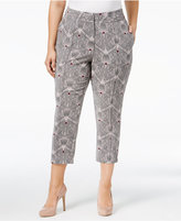 Melissa McCarthy Plus Size Geo-Print Cropped Tailored Pants